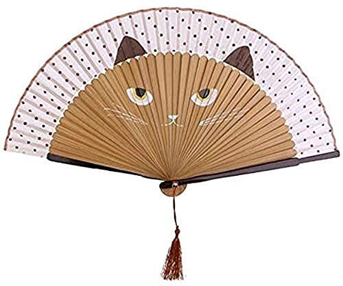 Black Sugar - Abanico plegable de seda con ventilador de bambú, gato,...