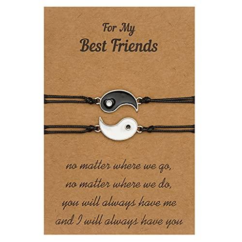 YUSHU - Pulsera de amigos a juego, pulsera de tarjeta Yin Yang para amistad, regalo de pulsera de cordón, pulseras trenzadas con tarjeta de regalo, pulseras de larga distancia para amigos