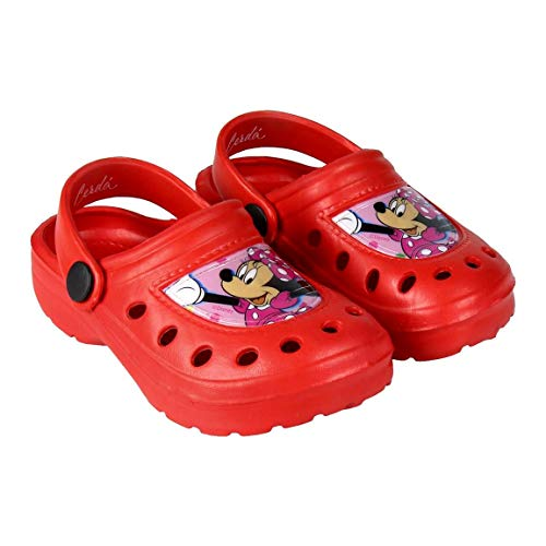 Zuecos Sabots Clogs Niña Minnie Mouse Disney   Glitterate   2 colores   Rojo y Rosa   Tallas de 24 a 31 Rojo Size: 28/29 EU