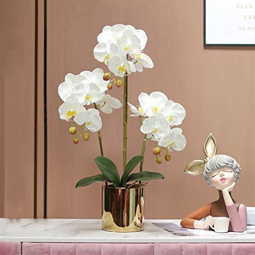 Arreglo de Flores de Phalaenopsis, Orquídea Faux Mariposa Orquídea Flores Artificiales Arreglo con jarrón Fiesta de Boda Home Centerpiece Decoración del Patio (Color : White)