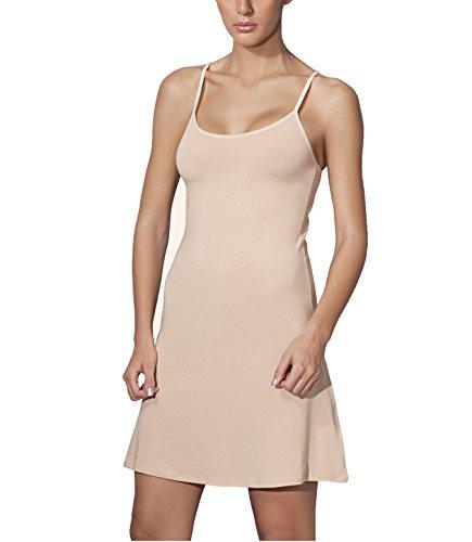 Doreanse Underwear Damen Unterkleid Blickdicht Mini mit verstellbaren Träger Baumwolle Nachthemd Frauen (40 – Large, Beige)