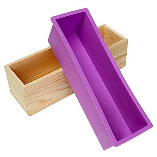 Moule en silicone rectangulaire pour production artisanale de 1,2kg de savon, livré avec une boîte en bois violet
