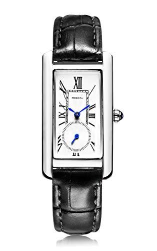 Classic Quartz Watch Women Leather Band Lady Luxury Antique Stylish Square Dress Watch (Silver & Black)