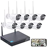 VisorTech Überwachungskamera Set: Funk-Überwachungssystem, HDD-Recorder & 8 IP-Kameras, Plug & Play, App (IP Kamera Set)