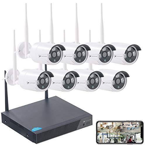 VisorTech Überwachungscameras: Funk-Überwachungssystem, HDD-Recorder & 8 IP-Kameras, Plug & Play, App (Überwachungskamera Funk Set)