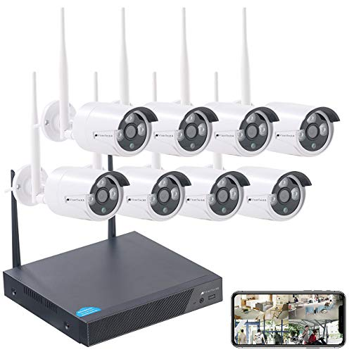 VisorTech Überwachungsanlage: Funk-Überwachungssystem, HDD-Recorder & 8 IP-Kameras, Plug & Play, App (Überwachung Kamera)