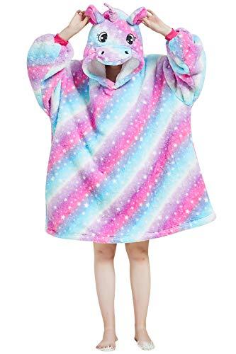 YAOMEI Unisex Übergroße Hoodie Sweatshirt Decke, Einhorn Winter Warm Weich Sherpa Riesen-Hoodie Pullover Decke mit Kapuze Nachthemd Schlafanzug für Männer Frauen (Rose, L)