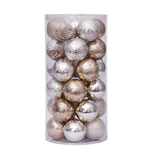 30 juegos de bolas de Navidad doradas de 6 cm, 5 tipos de bolas, decoraciones de Navidad reciclables