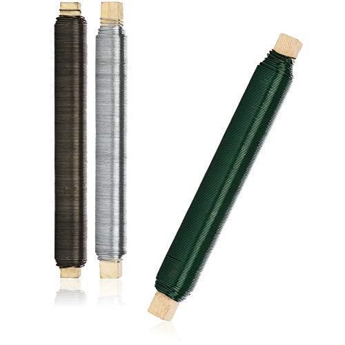 com-four® 3-teiliges Basteldraht Set - Wickeldraht in der Farbe grün, silberfarben und schwarz - perfekt für die Weihnachtsdeko