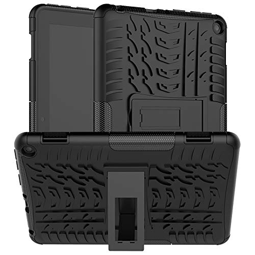 HoYiXi Custodia per All-new Fire HD 8 Plus 2020/Fire HD 8 2020 Anti-drop Doppia Protettiva Cover Case con Supporto Funzione Custodia per Amazon Fire HD 8 Plus/Fire HD 8 2020 - nera