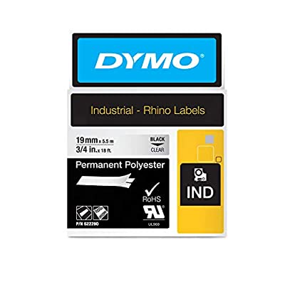"DYMO Industrial Permanent Labels for DYMO Industrial Rhino Label Makers, Black on Clear, 3.75"", 1 Roll (622290), DYMO Authentic"