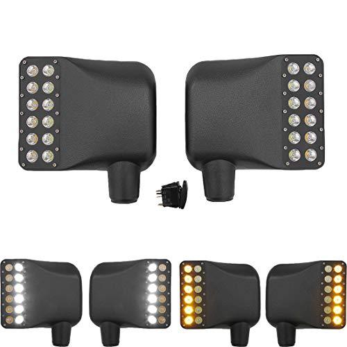 2 pcs vue de côté couverture miroir kit voiture rétroviseur logement avec LED ambre clignotant indicateur DRL lumière réversible lampes de signal pour Wrangler