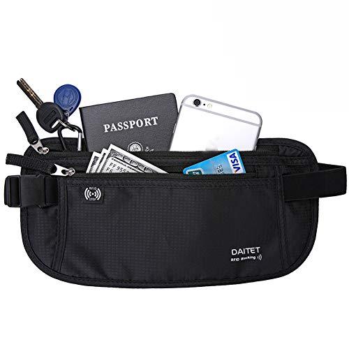 DAITET Money Belt - Passport Holder Secure Hidden Travel Wallet with RFID Blocking, Undercover Fanny Pack (Black)