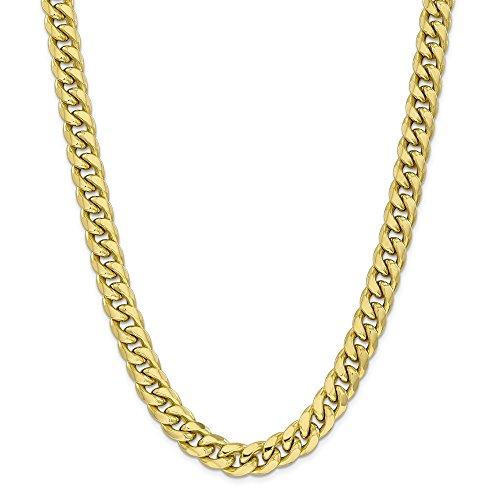 Diamond2Deal Collar de cadena cubana de oro amarillo de 10 quilates de 11 mm de Miami con cierre de langosta de 60,96 cm para hombre y mujer