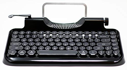 Rymek Typewriter Style Mechanical Wired & Wireless Keyboard with Tablet Stand, Bluetooth Connection (v2, Black)