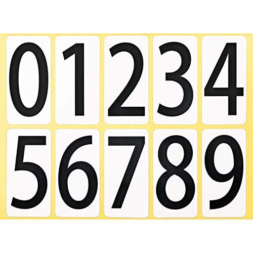 ユポ ナンバーシール ステッカー 33K091 【大】 防水 大きい 数字 番号 ラベル PP加工 耐候性 屋外【33×66mm/片】0〜9の10種各1片×1シート 33K091