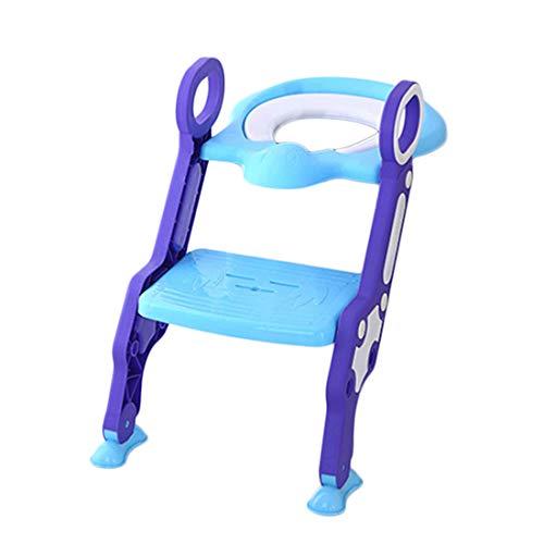 ERZBQ Step-Wise Siège de Formation pour Enfants - Siège de sécurité pour garçons et Filles - Échelle de Toilette Se Pliant rembourré pour 1-7 Ans,Blue+Purple