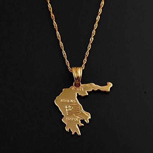 QUWE Karte Kette,Vintage Griechenland Karte Gold Farbe Anhänger Charm Nickel Kostenlose Halskette National Anhänger Globus Charm Kette Schmuck Geschenk Für Männer Frauen