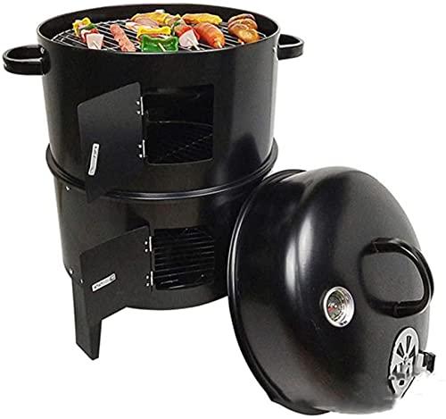 3 en 1 barbacoa de carbón redondo, parrilla y fumador, con termómetro y ventilación, asado al aire libre, 84 x 40 cm- negro