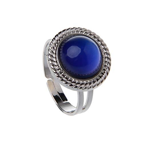 XIANZI Stone Mood - Anillo ajustable para mujer, cambio de temperatura, color ovalado, joya para adolescentes y niñas