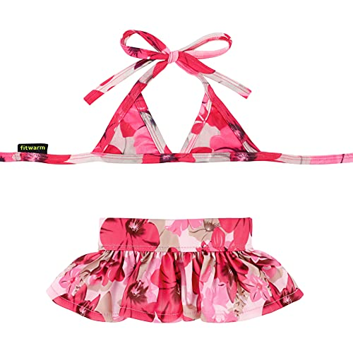Fitwarm Stylish Pink Floral Pet Dog Bikini Swimming Dress Bathing Suit Summer Clothes, Pink, Large