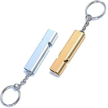 Lot de 2 sifflets pour chien en acier inoxydable avec anneau à clé, accessoires pour chien pour entraînement & formation de chiots, fréquence normalisée, ultrasons, haute fréquence, argent et or