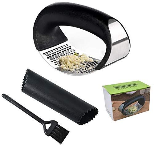 HAPPY FINDING Knoblauchpresse, Knoblauchschneider Edelstahl Rostfrei Garlic Press mit Silikon Knoblauchschäler und Reinigungsbürste Küchenhelfer Einfach zu verwenden und Reinigung