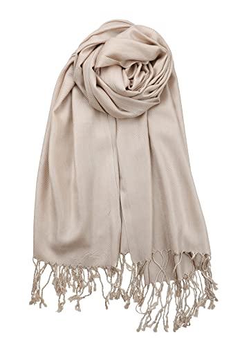 Achillea Soft Silky Solid Pashmina Shawl Wrap Scarf for Wedding Bridesmaid Dress (Tan/Light Camel)