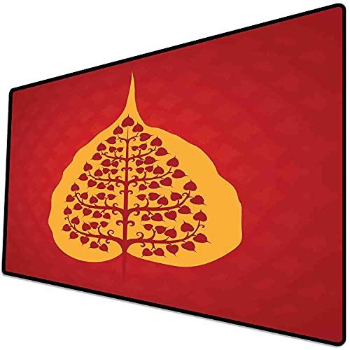 Alfombrilla de ratón (600x300x3 mm) Hoja, Diseño artístico de Bodhi Tree Nature and Yoga, Vermilion Ruby y Marigold, Superficie Suave y cómoda de la Alfombrilla de ratón para Juegos