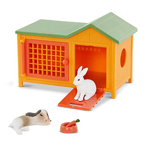 Terra Hasenstall 5-teilig Spielzeug Set – 2 Hasen, großer Stall, Karotte und Futternapf – Tierfiguren und Zubehör Spielzeug für Kinder ab 3 Jahren