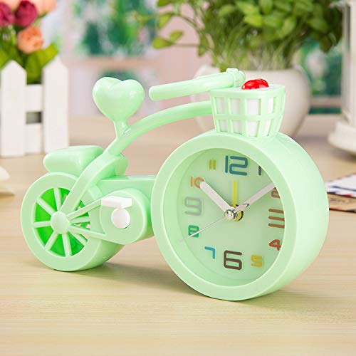 SMAQZ Thicken Candy Color Creative Bicycle Alarm Clock Green 17.8 * 6 * 12Cm