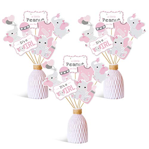 Faisichocalato Pink Elephant Centerpiece Sticks DIY Baby Girl It's A Girl Table Decorations Pink Little Peanut Cutouts for Pink Elephant Theme Baby Shower Birthday Party Supplies Set of 24