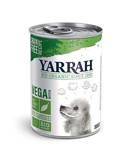 Yarrah - Cibo Biologico per Cani Vega Chunks – per Cani Che Hanno difficoltà a digerire proteine Animali – con Fagioli di soia e Mirtillo – raccomandato per Cani da 1 Anno – 380 gr