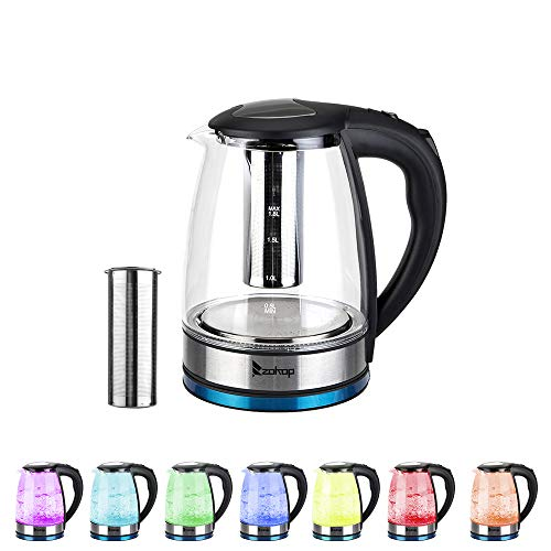 LeftCafe 1.8L Electric Glass Kettle Water Heater Boiler 1500W Fast Boiling with 7 Colors LED Light