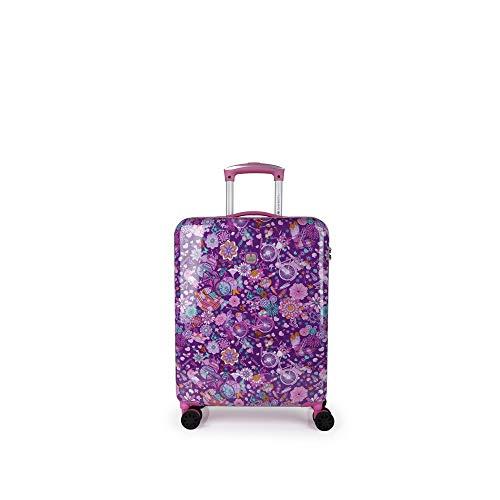 Gabol - Abril | Maleta de Cabina Duras de 40 x 55 x 20 cm con Capacidad para 33 L de Estampado Floral