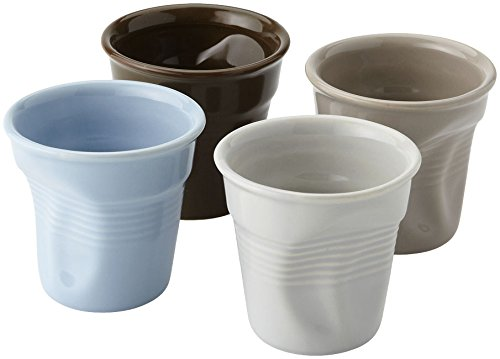 BARBACADO 4 Tasses Expresso 6cl céramique, Service Tasses Espresso,Tasse à café, Style gobelet froissé