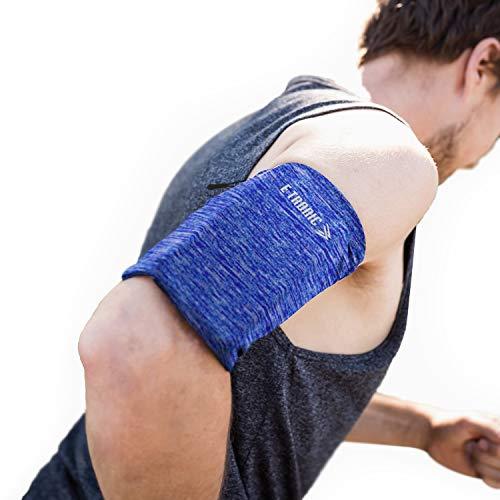 E Tronic Edge Handytasche - Laufen, Joggen, Running - Elastisches Laufarmband für Handy-Modelle jeder Größe - Hoher Blau - Medium