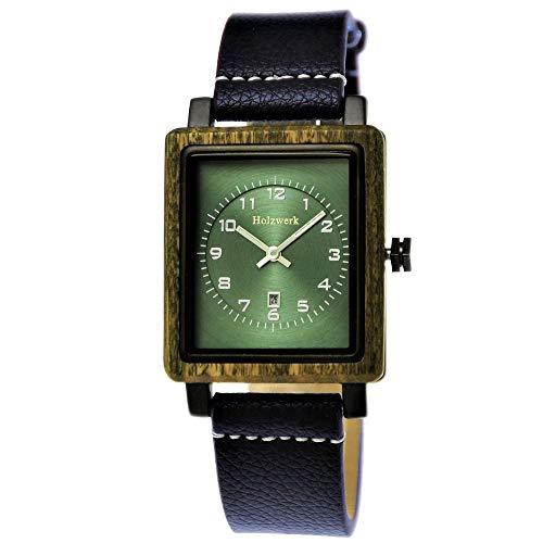 Handgefertigte Holzwerk Germany ® Öko Damen-Uhr Natur Holz-Uhr Leder Armband-Uhr Analog Klassisch Quarz-Uhr Braun Grün Eckig
