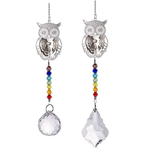 2Pcs Window Hanging Crystal, 3D Metal Owl Fengshui Rainbow Maker Glass Chakra Window Hanging Crystal Garden Suncatcher Mix 2 Style