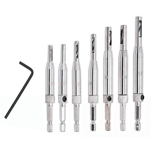BRAX Hardware Self-Centering Drill Bits, 7 Pcs HSS Hinge Tapper Core Drill Bit Set with 1 Hex Key, VIX Bits Wood Drill Bit Tool for Door Window Cabinet Furniture