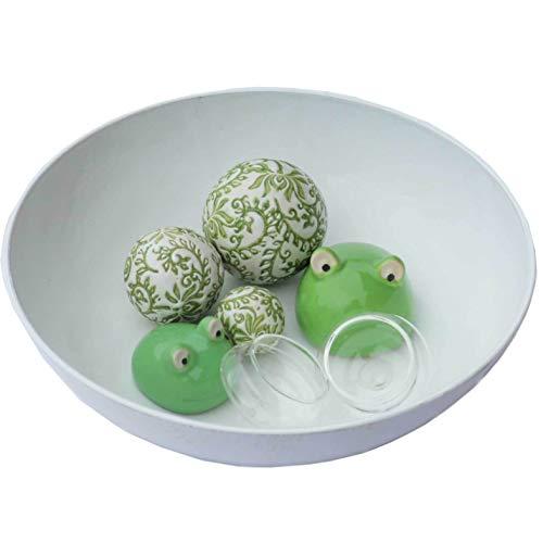 Gartenzaubereien Miniteich Creme-weiß komplett mit Schale, Schwimmkugeln und Schwimmfrosch