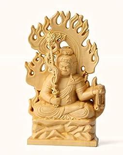 【極上の木彫】一刀彫り 仏教工芸品 総ケヤキ材 精密彫刻 極上品 木彫仏教 仏師で仕上げ品 不動明王座像