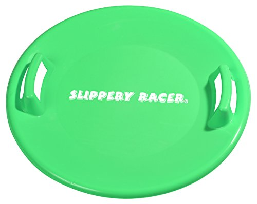 Slippery Racer Downhill Pro Saucer Disc Snow Sled, Green