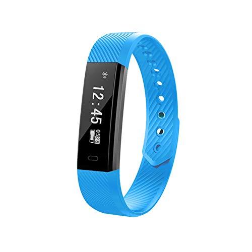 Pulsera Inteligente MINASAN, Monitor de frecuencia cardíaca, Monitor de presión Arterial, Monitor de Actividad física (Azul)