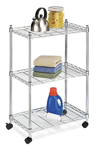 Whitmor Supreme 3 Tier Cart - Rolling Utility Organizer - Chrome