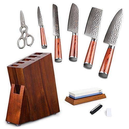 YARENH Professional Kitchen Knife 6 Pcs Set - High Carbon Japanese Damascus Steel Blade - Pakka Wood...
