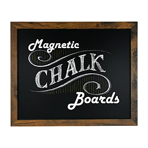 """Loddie Doddie Magnetic Chalkboard - 18"""" x 22"""" Magnetic Chalkboard for Wall Decor - Easy to Erase Chalkboard Rustic Frame for Kitchen, Big Framed Magnet Blackboard - Easy Hanging Black Chalkboards"""