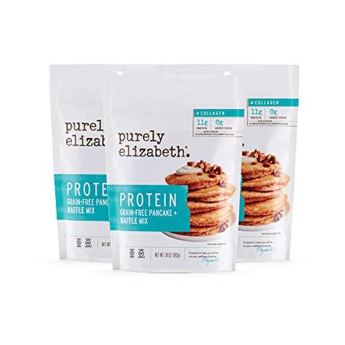Purely Elizabeth Grain-Free Protein + Collagen Pancake Mix - Certified Gluten-free, Vegan & Non-GMO   Protein & Nutrient-Rich Breakfast   10oz