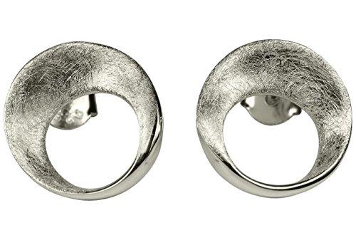 SILBERMOOS Damen Ohrstecker Kreis rund offen gebürstet Sterling Silber 925
