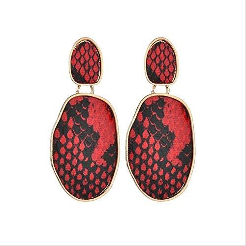 Damen Ohrringe Sets Reifen Geometrische runde quadratische Ohrringe Party Frauen Leopardenmuster lange baumeln Ohrringe Bambus Maxi Schmuckrot